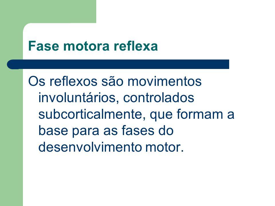 Fase motora reflexa Os reflexos são movimentos involuntários, controlados subcorticalmente, que formam a base para as fases do desenvolvimento motor.