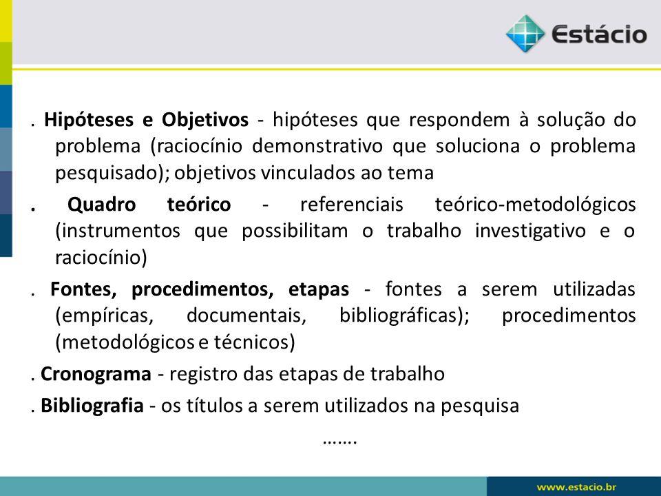 Hipóteses e Objetivos - hipóteses que respondem à solução do problema (raciocínio demonstrativo que soluciona o problema pesquisado); objetivos vinculados ao tema .