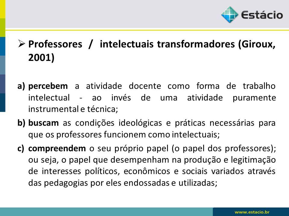 Professores / intelectuais transformadores (Giroux, 2001)