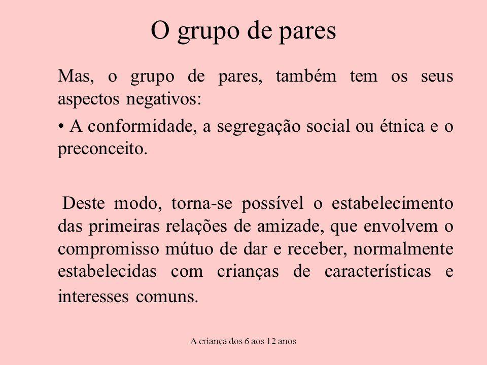 O grupo de pares Mas, o grupo de pares, também tem os seus aspectos negativos: A conformidade, a segregação social ou étnica e o preconceito.