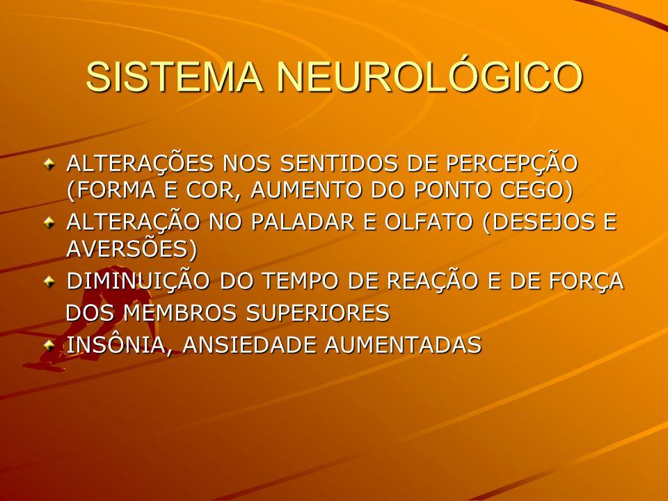 SISTEMA NEUROLÓGICO ALTERAÇÕES NOS SENTIDOS DE PERCEPÇÃO (FORMA E COR, AUMENTO DO PONTO CEGO) ALTERAÇÃO NO PALADAR E OLFATO (DESEJOS E AVERSÕES)