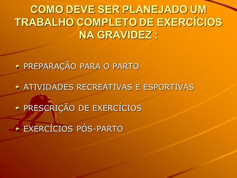 COMO DEVE SER PLANEJADO UM TRABALHO COMPLETO DE EXERCÍCIOS NA GRAVIDEZ :