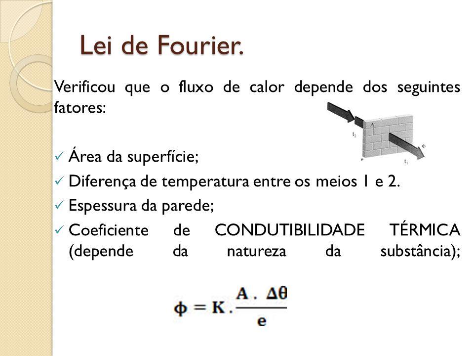 Lei de Fourier. Verificou que o fluxo de calor depende dos seguintes fatores: Área da superfície;