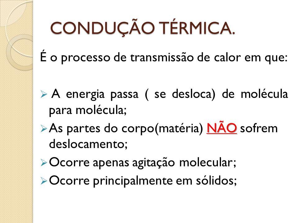 CONDUÇÃO TÉRMICA. É o processo de transmissão de calor em que: