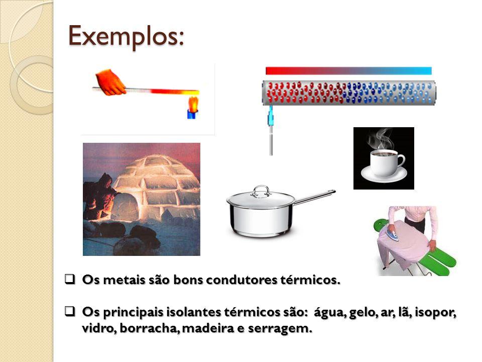 Exemplos: Os metais são bons condutores térmicos.