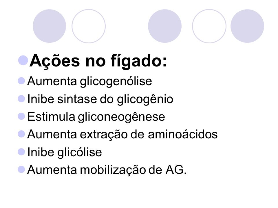 Ações no fígado: Aumenta glicogenólise Inibe sintase do glicogênio