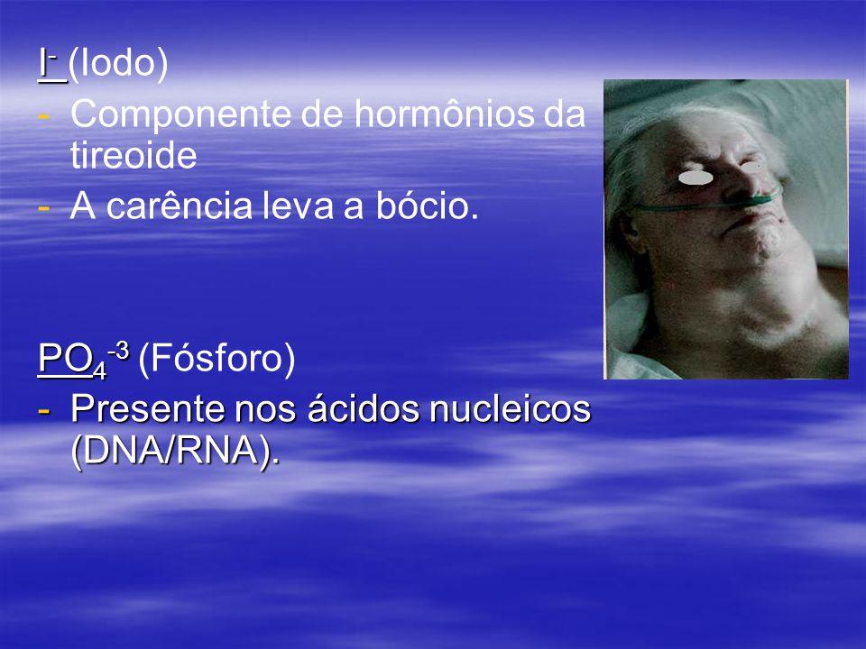 I- (Iodo) Componente de hormônios da tireoide. A carência leva a bócio.