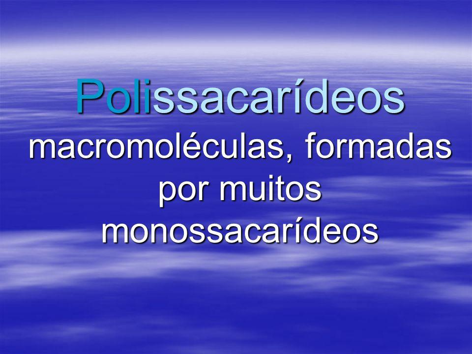 Polissacarídeos macromoléculas, formadas por muitos monossacarídeos