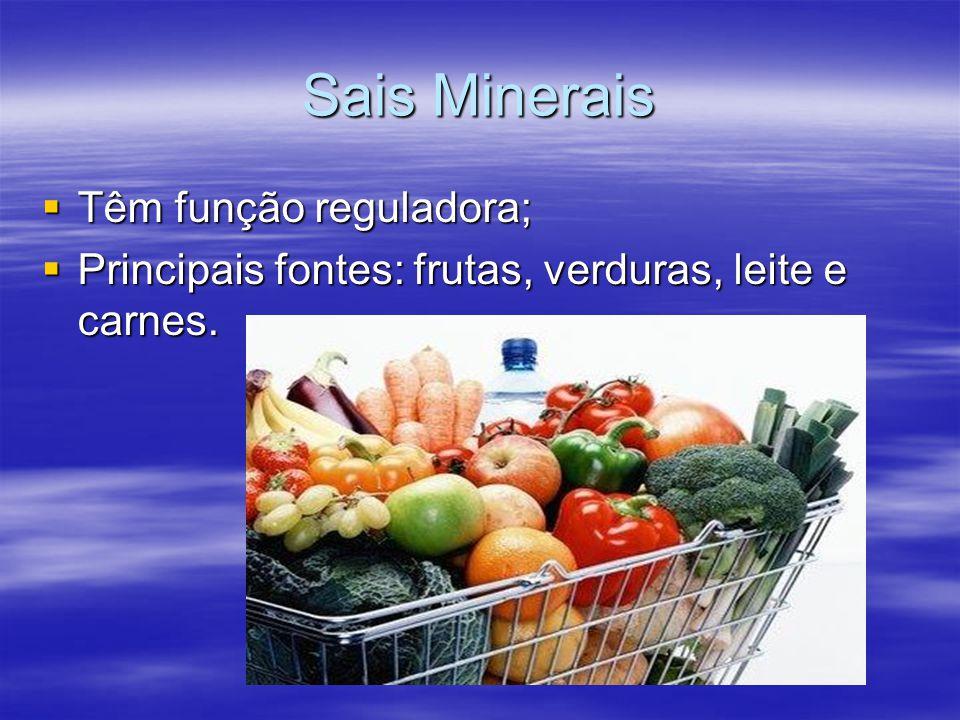 Sais Minerais Têm função reguladora;