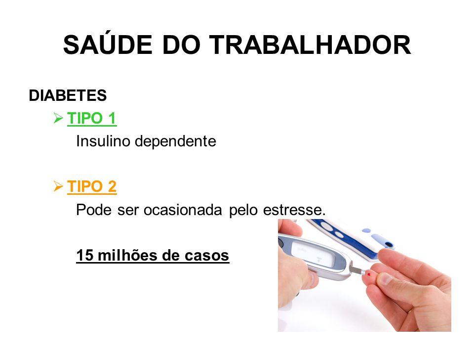 SAÚDE DO TRABALHADOR DIABETES TIPO 1 Insulino dependente TIPO 2
