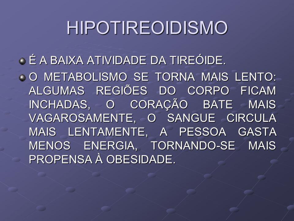 HIPOTIREOIDISMO É A BAIXA ATIVIDADE DA TIREÓIDE.