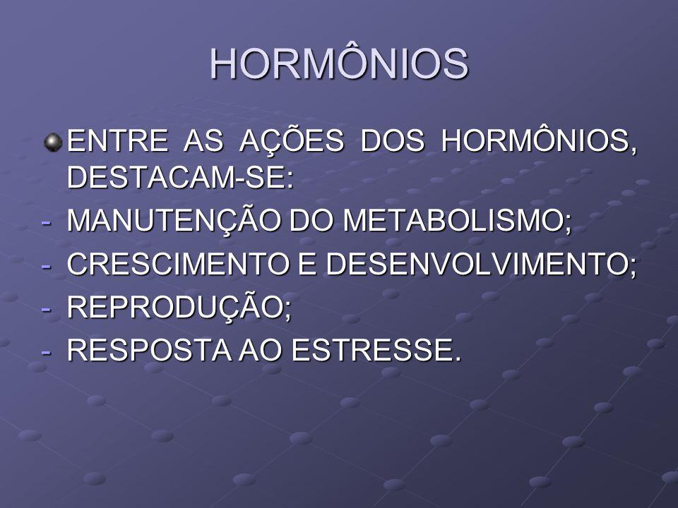 HORMÔNIOS ENTRE AS AÇÕES DOS HORMÔNIOS, DESTACAM-SE: