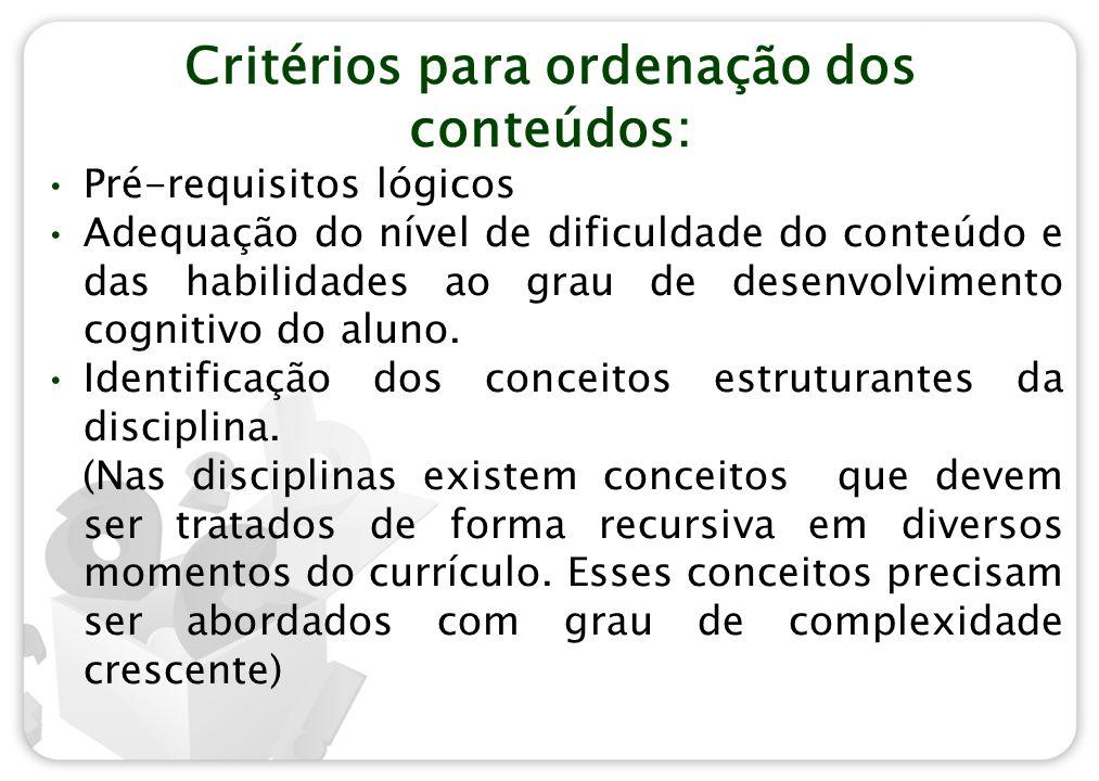 Critérios para ordenação dos conteúdos: