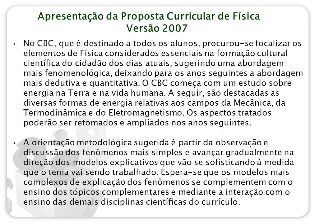 Apresentação da Proposta Curricular de Física Versão 2007