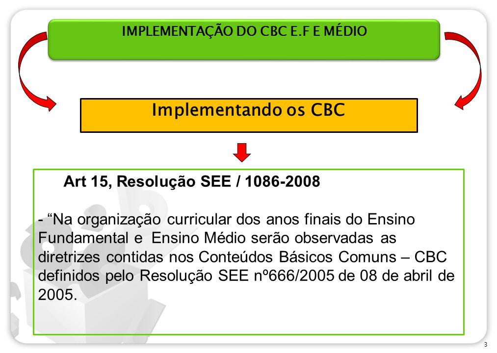 IMPLEMENTAÇÃO DO CBC E.F E MÉDIO