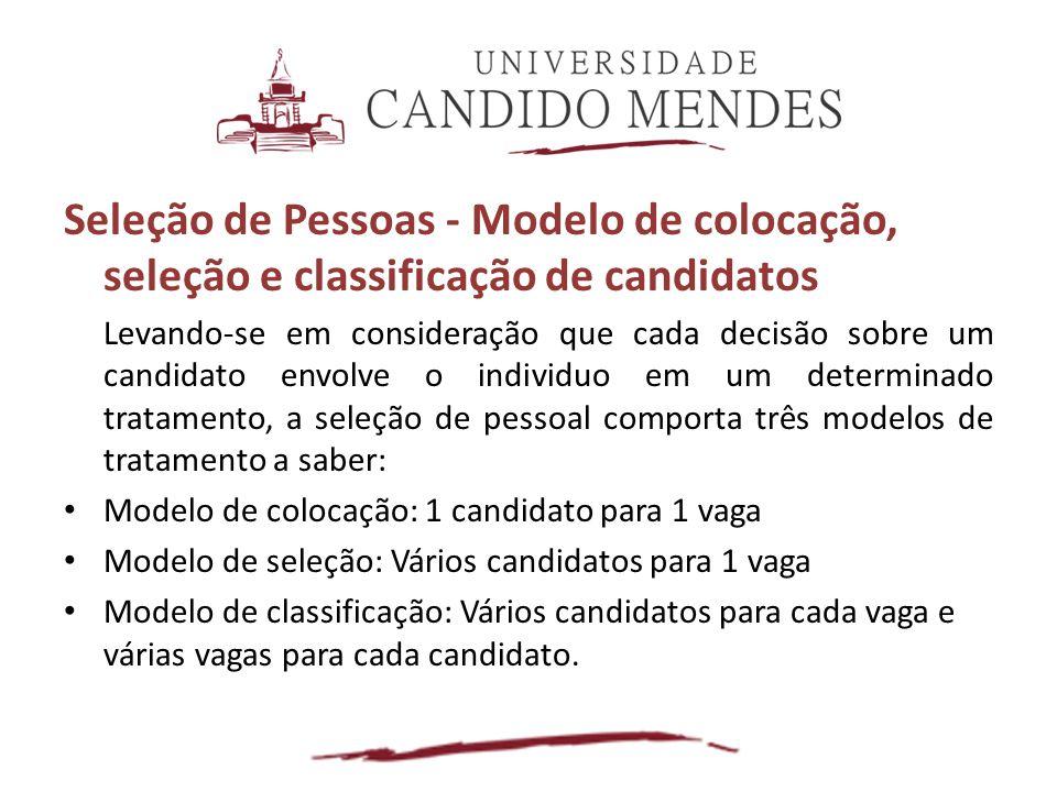 Seleção de Pessoas - Modelo de colocação, seleção e classificação de candidatos