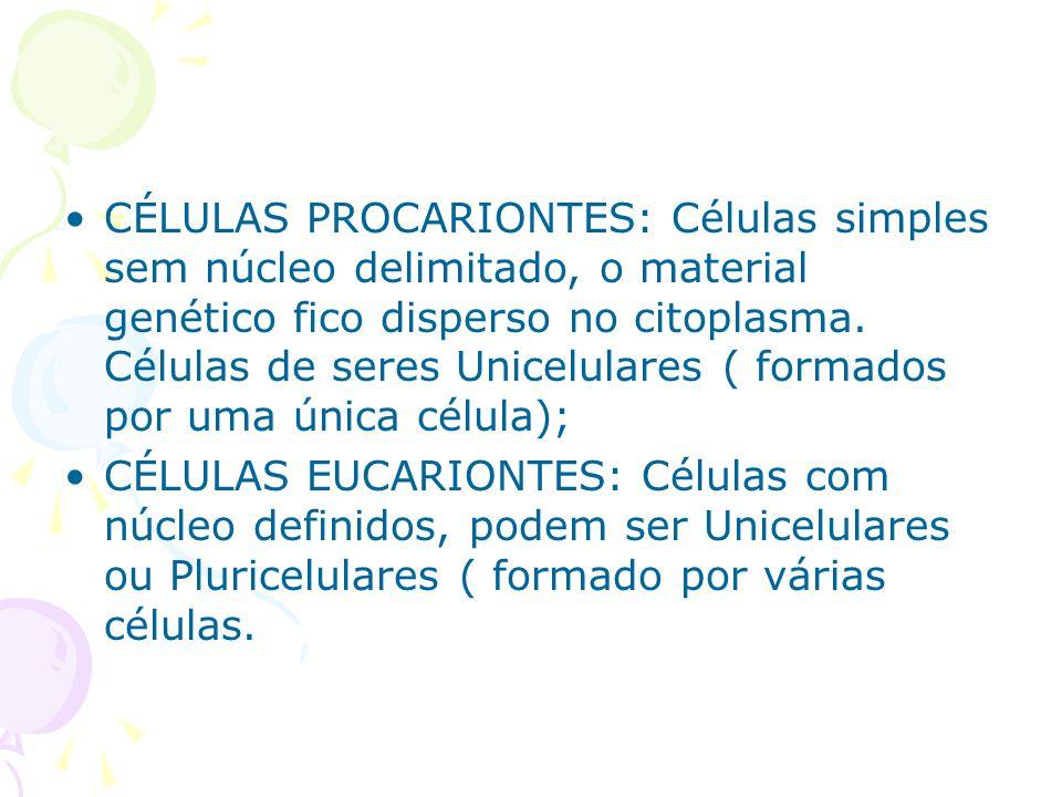 CÉLULAS PROCARIONTES: Células simples sem núcleo delimitado, o material genético fico disperso no citoplasma. Células de seres Unicelulares ( formados por uma única célula);