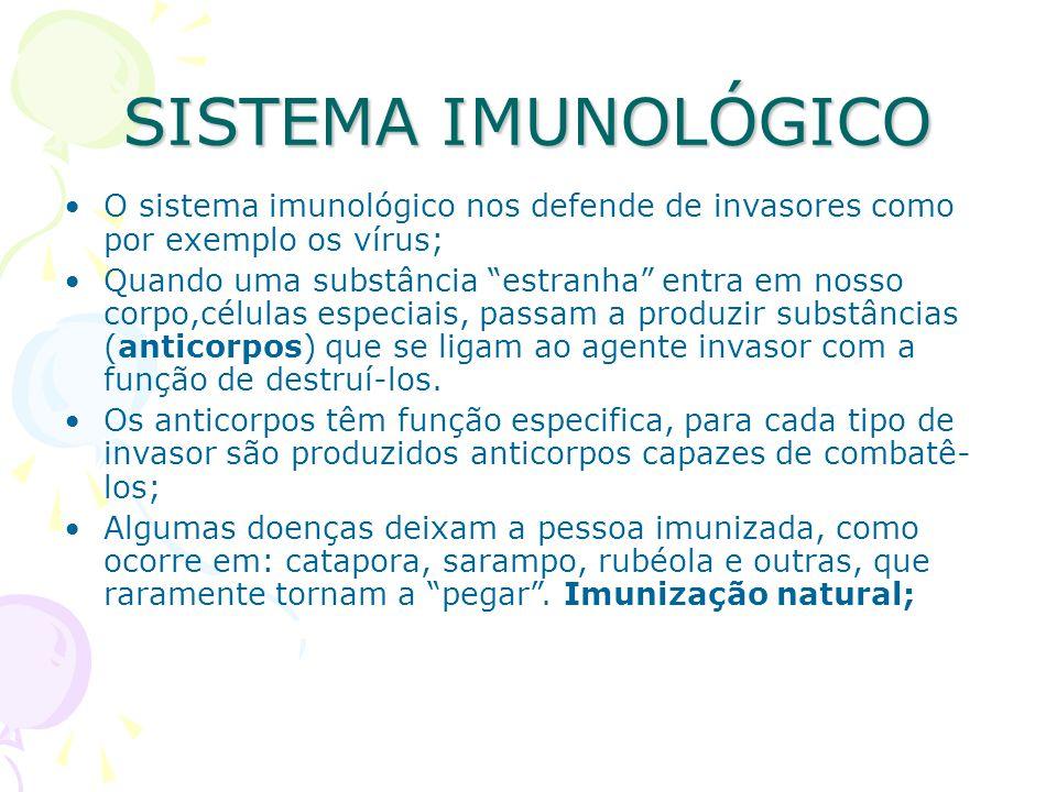 SISTEMA IMUNOLÓGICO O sistema imunológico nos defende de invasores como por exemplo os vírus;
