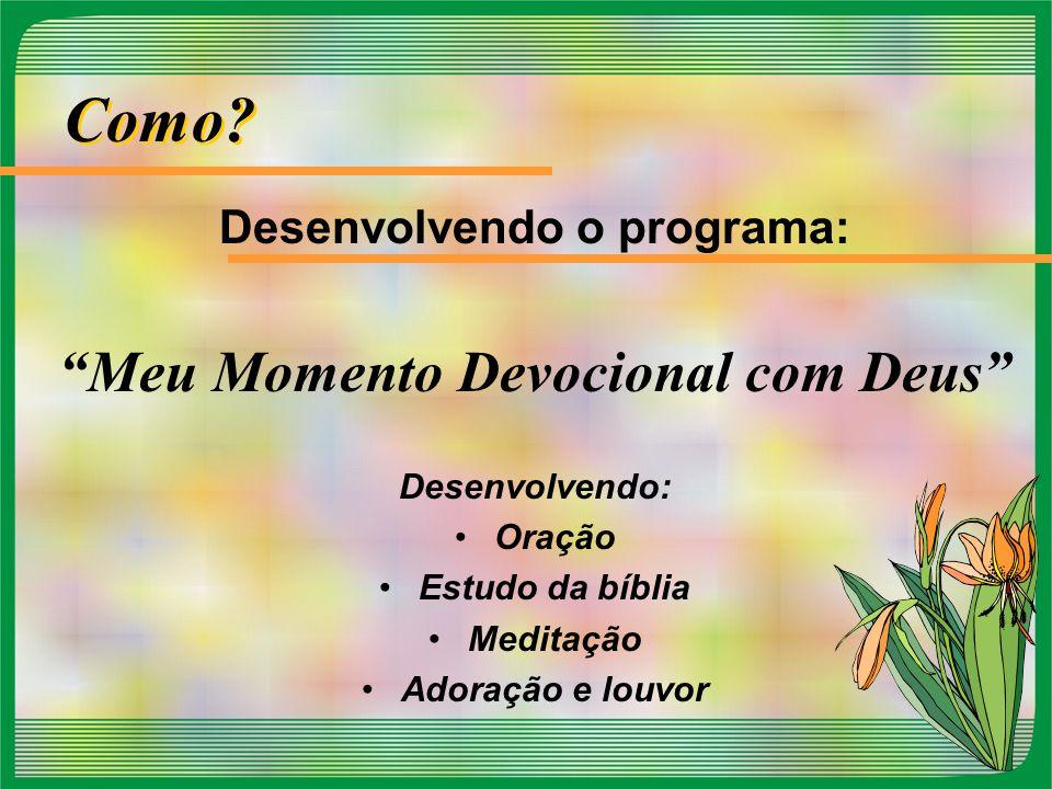 Desenvolvendo o programa: Meu Momento Devocional com Deus