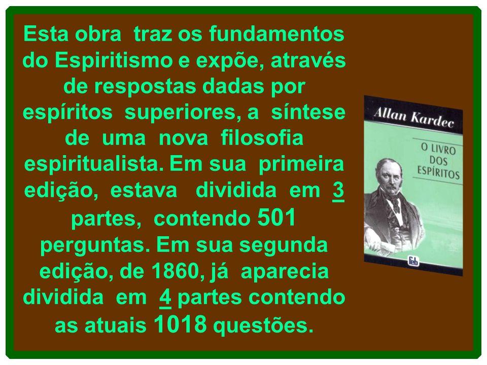 Esta obra traz os fundamentos do Espiritismo e expõe, através de respostas dadas por espíritos superiores, a síntese de uma nova filosofia espiritualista.
