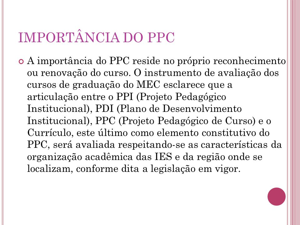 IMPORTÂNCIA DO PPC