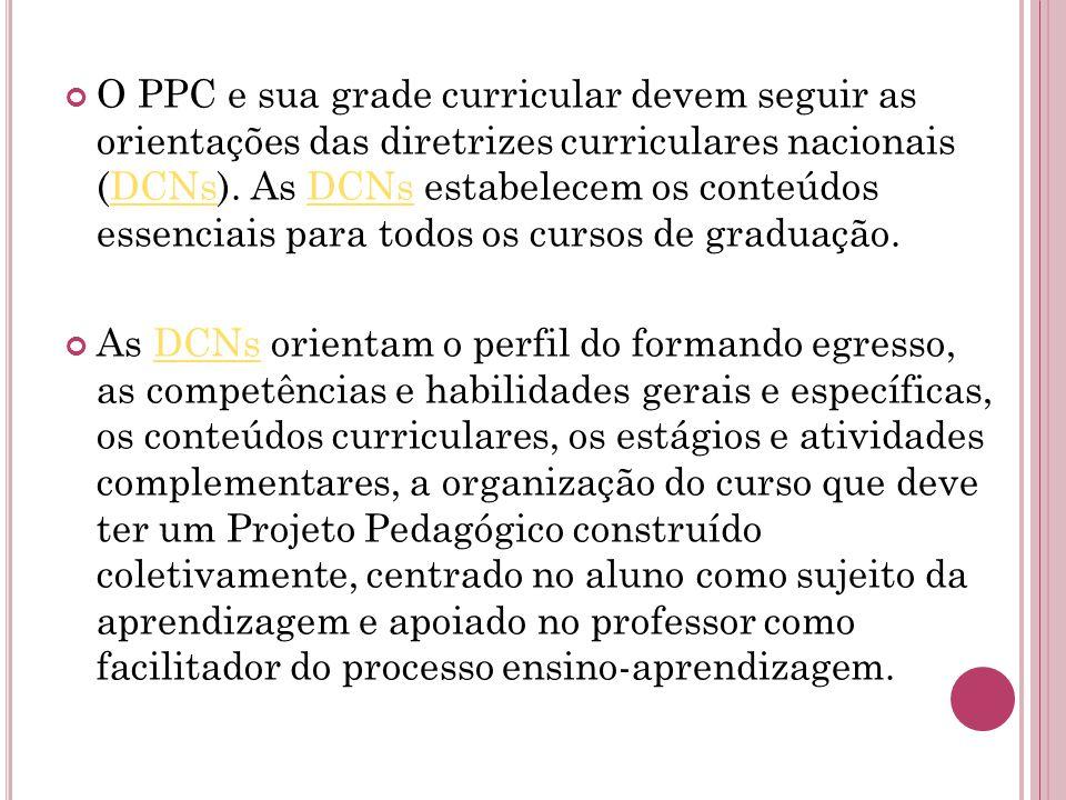 O PPC e sua grade curricular devem seguir as orientações das diretrizes curriculares nacionais (DCNs). As DCNs estabelecem os conteúdos essenciais para todos os cursos de graduação.