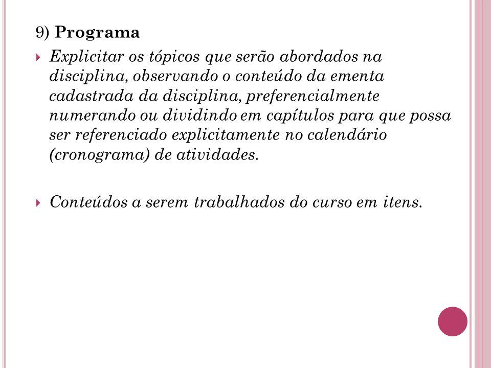 9) Programa