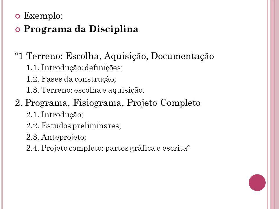 Programa da Disciplina 1 Terreno: Escolha, Aquisição, Documentação