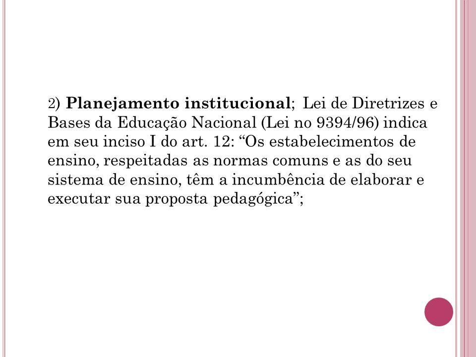 2) Planejamento institucional; Lei de Diretrizes e Bases da Educação Nacional (Lei no 9394/96) indica em seu inciso I do art.