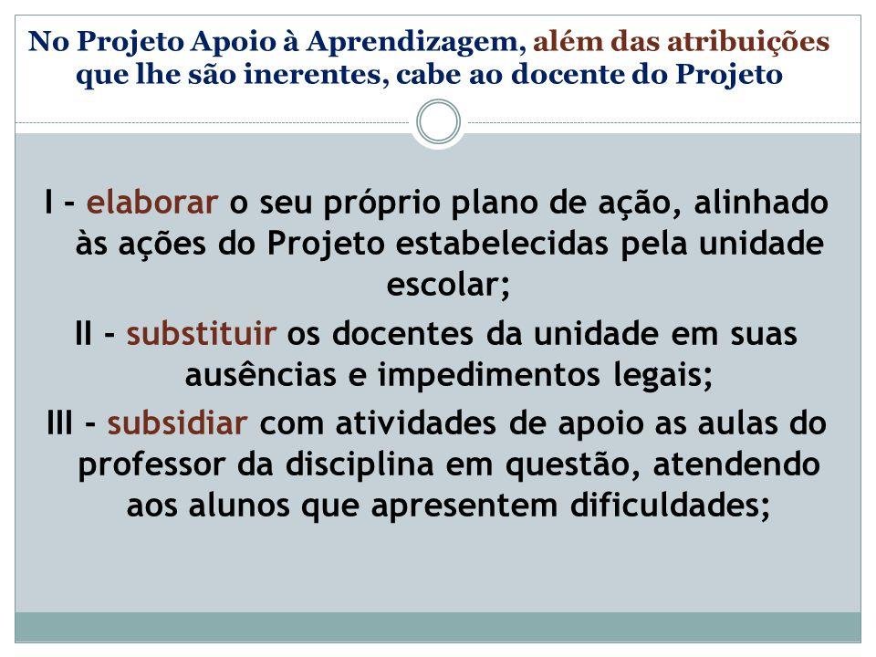 No Projeto Apoio à Aprendizagem, além das atribuições que lhe são inerentes, cabe ao docente do Projeto