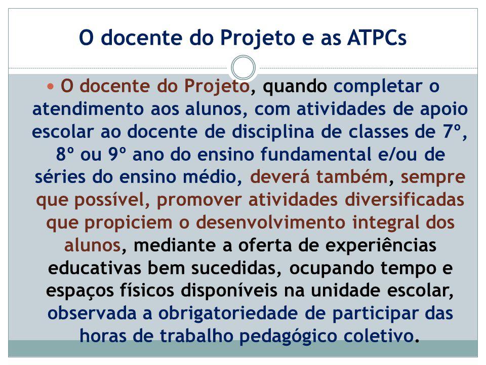 O docente do Projeto e as ATPCs