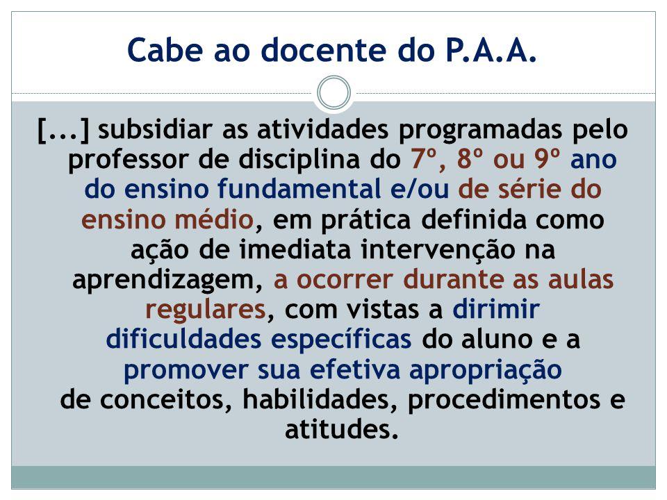 Cabe ao docente do P.A.A.