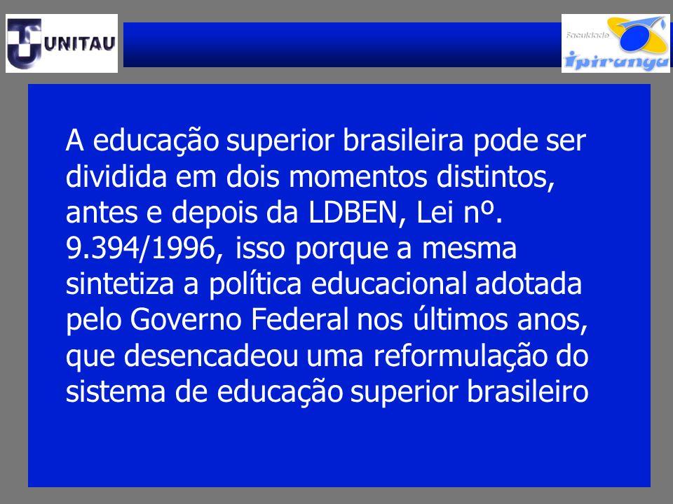 A educação superior brasileira pode ser dividida em dois momentos distintos, antes e depois da LDBEN, Lei nº.