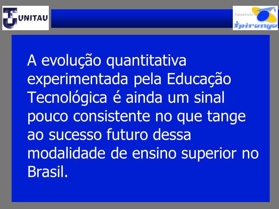 A evolução quantitativa experimentada pela Educação Tecnológica é ainda um sinal pouco consistente no que tange ao sucesso futuro dessa modalidade de ensino superior no Brasil.