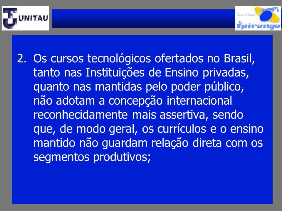 Os cursos tecnológicos ofertados no Brasil, tanto nas Instituições de Ensino privadas, quanto nas mantidas pelo poder público, não adotam a concepção internacional reconhecidamente mais assertiva, sendo que, de modo geral, os currículos e o ensino mantido não guardam relação direta com os segmentos produtivos;