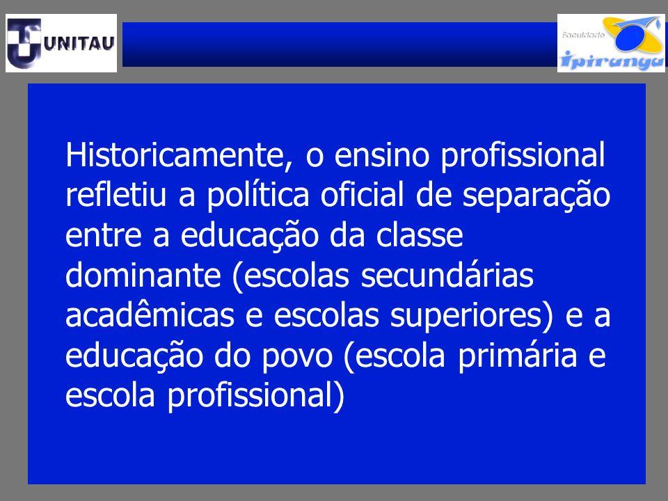 Historicamente, o ensino profissional refletiu a política oficial de separação entre a educação da classe dominante (escolas secundárias acadêmicas e escolas superiores) e a educação do povo (escola primária e escola profissional)