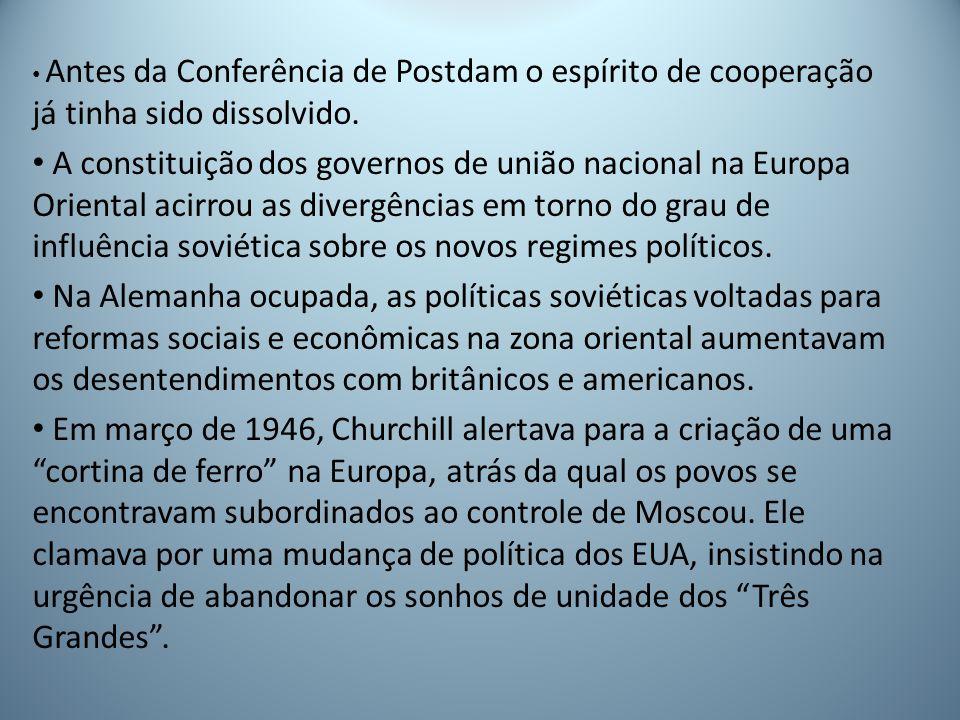 Antes da Conferência de Postdam o espírito de cooperação já tinha sido dissolvido.