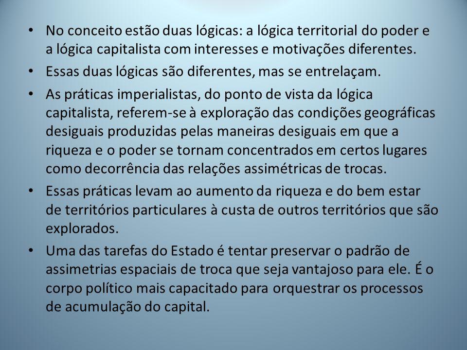 No conceito estão duas lógicas: a lógica territorial do poder e a lógica capitalista com interesses e motivações diferentes.