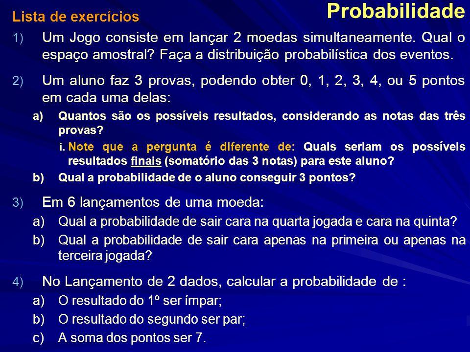 Probabilidade Lista de exercícios