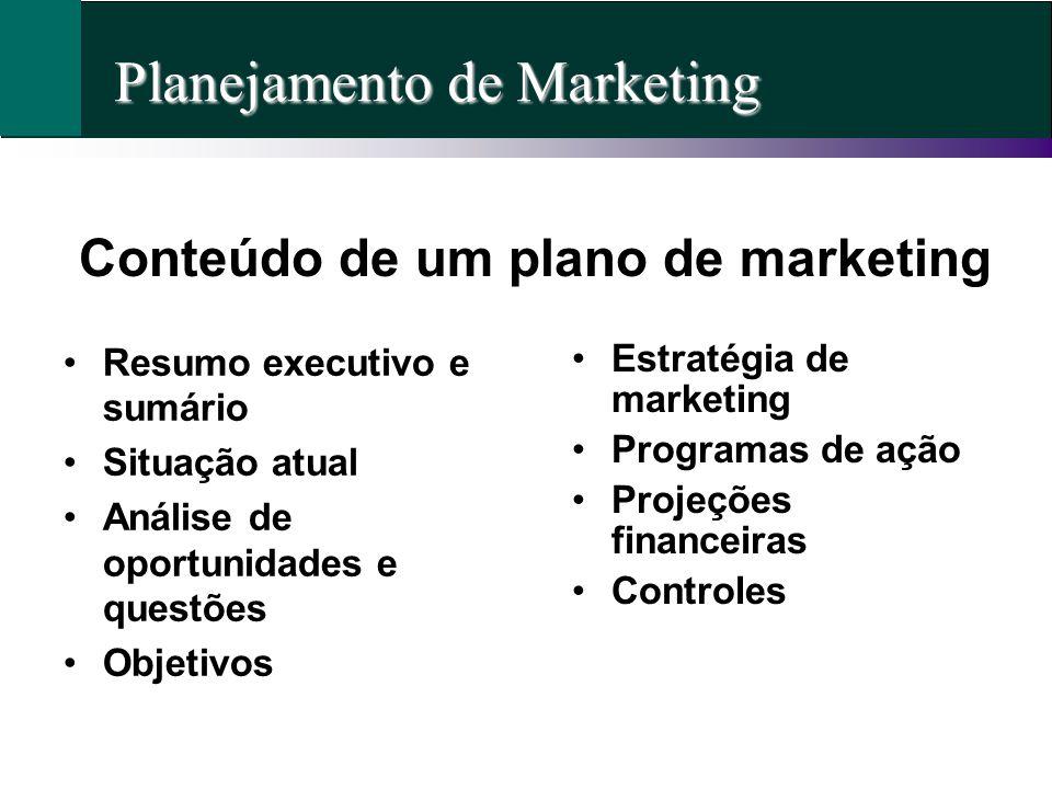 Conteúdo de um plano de marketing