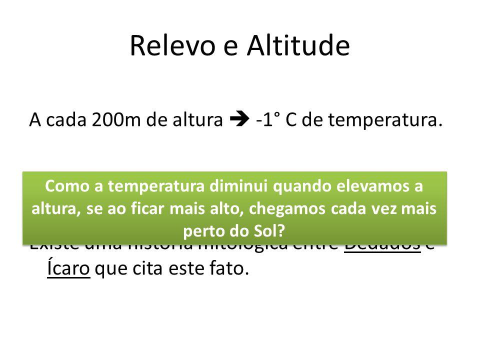Relevo e Altitude A cada 200m de altura  -1° C de temperatura. Existe uma história mitológica entre Dédados e Ícaro que cita este fato.