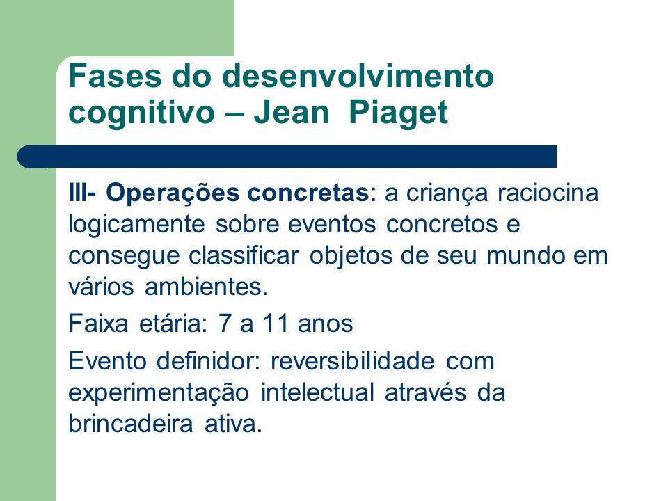 Fases do desenvolvimento cognitivo – Jean Piaget
