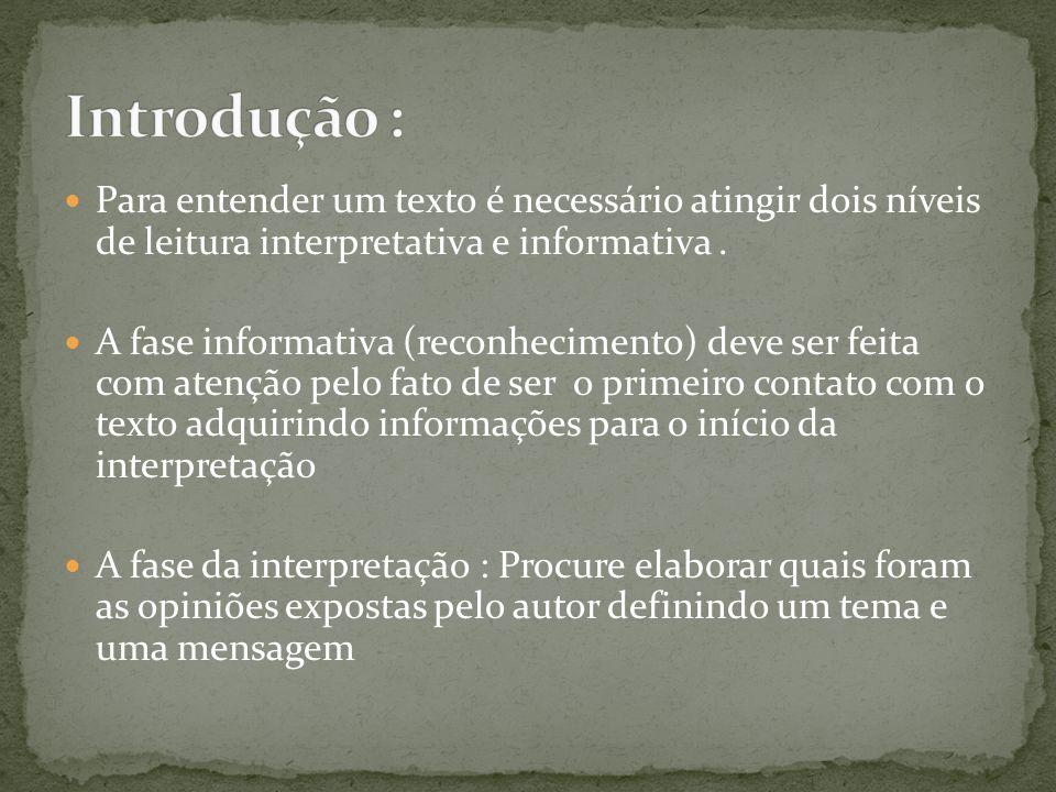 Introdução : Para entender um texto é necessário atingir dois níveis de leitura interpretativa e informativa .