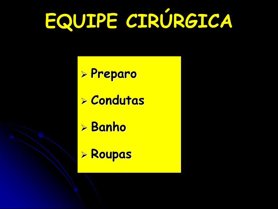 EQUIPE CIRÚRGICA Preparo Condutas Banho Roupas