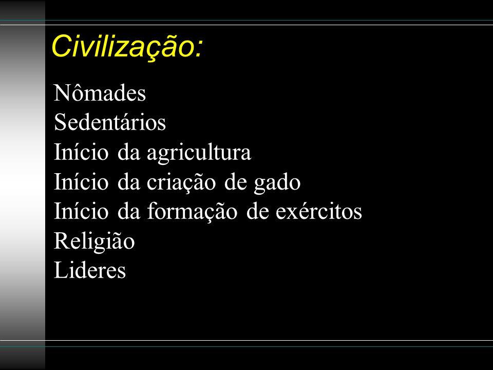 Civilização: Nômades Sedentários Início da agricultura