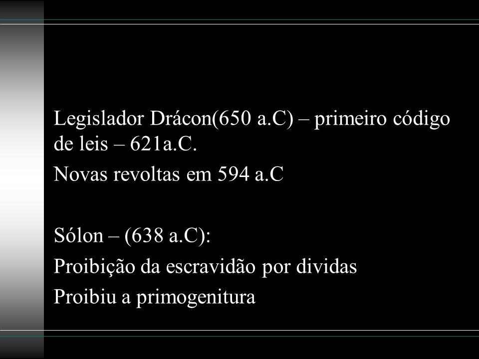 Legislador Drácon(650 a.C) – primeiro código de leis – 621a.C.