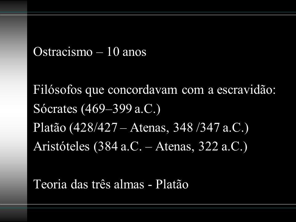 Ostracismo – 10 anos Filósofos que concordavam com a escravidão: Sócrates (469–399 a.C.) Platão (428/427 – Atenas, 348 /347 a.C.)