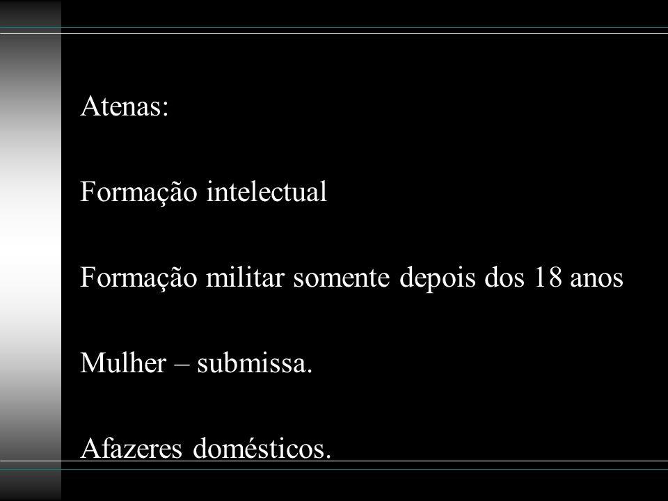 Atenas: Formação intelectual. Formação militar somente depois dos 18 anos.