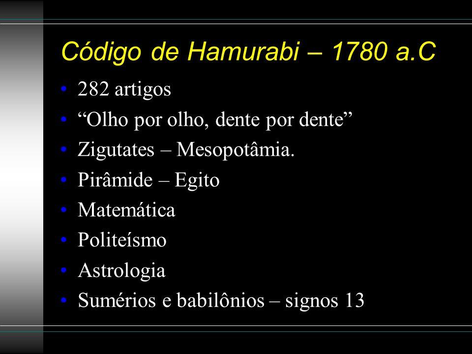 Código de Hamurabi – 1780 a.C 282 artigos