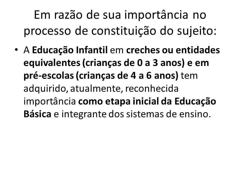Em razão de sua importância no processo de constituição do sujeito: